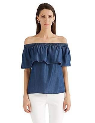 MEHEPBURN Women's Off Shoulder Ruffle Denim Top Tencel Chambray Shirt Blouse