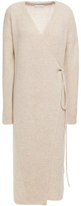 Vince Ribbed Wool And Cashmere-blend Midi Wrap Dress