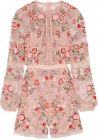 Needle & Thread Meadow Embellished Tulle Playsuit - Pastel pink