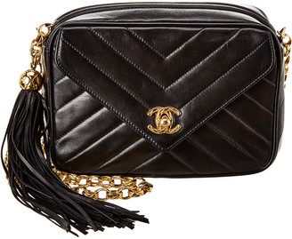 Chanel Black Lambskin Leather Envelope Camera Bag
