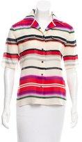 Derek Lam 10 Crosby Silk Wool-Blend Striped Button-Up