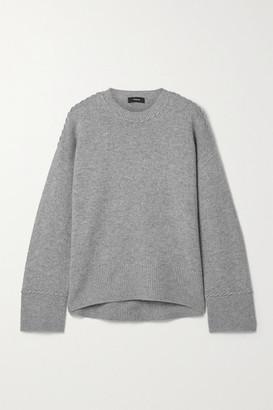 Theory Karenia Whipstitched Melange Cashmere Sweater - Gray