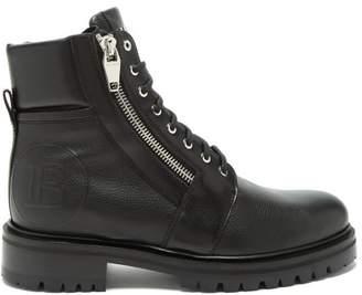 Balmain Logo Embossed Leather Ranger Boots - Mens - Black