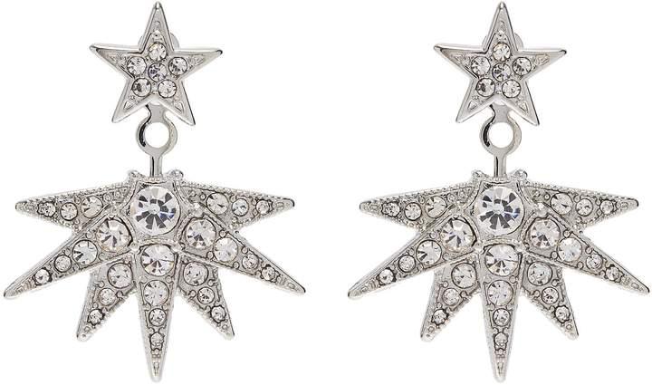 Kenneth Jay Lane Detachable jacket glass crystal star stud earrings