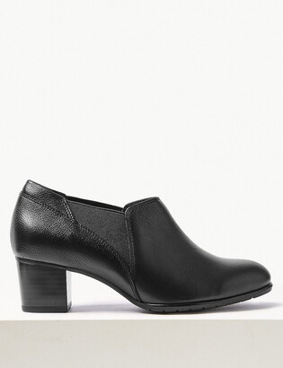 Marks and Spencer Wide Fit Leather Block Heel Chelsea Shoe Boots