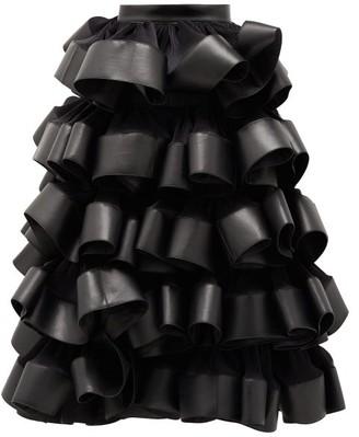 Noir Kei Ninomiya Ruffled Plisse And Faux-leather Skirt - Womens - Black