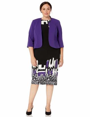 Maya Brooke Women's Double Border Abstract Print Jacket Dress