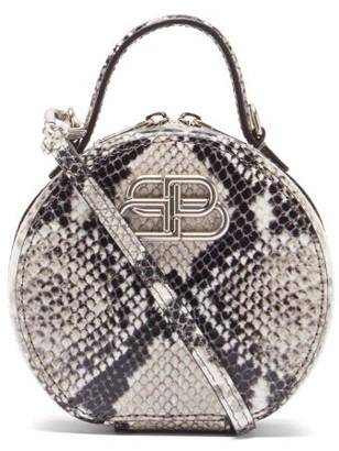 Balenciaga Vanity Bb-logo Python-effect Leather Clutch Bag - Python