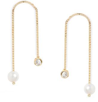 Poppy Finch 14k Gold Box Chain Diamond & Pearl Drop Earrings