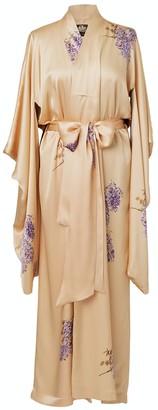 Castlebird Rose Maxi Silk Kimono Royal Gold