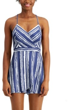 BCX Juniors' Striped Faux-Wrap Romper