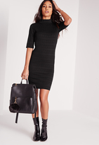 Missguided Short Sleeve Textured Dress Black