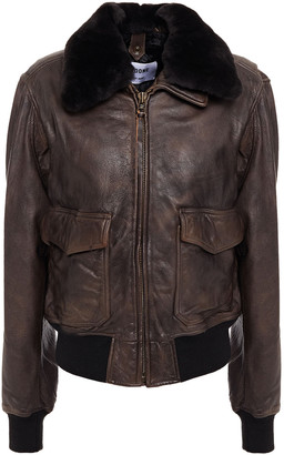 RE/DONE Faux Fur-trimmed Burnished-leather Jacket