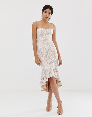 Jarlo all over lace cami strap lace midi dress in white