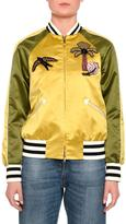 Valentino Embroidered Bicolor Bomber Jacket, Gold