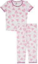 Esme Heart-Print Pajama Set-PINK