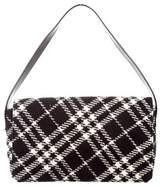 Burberry Leather-Trimmed Tweed Bag