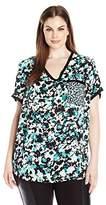 Jones New York Women's Plus Size Mix Print Floral Pckt Tee