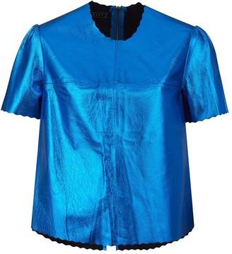 Manley Parker Metallic Leather Tee - Cobalt Blue