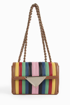Sara Battaglia Multi Stripe Chain Shoulder Bag