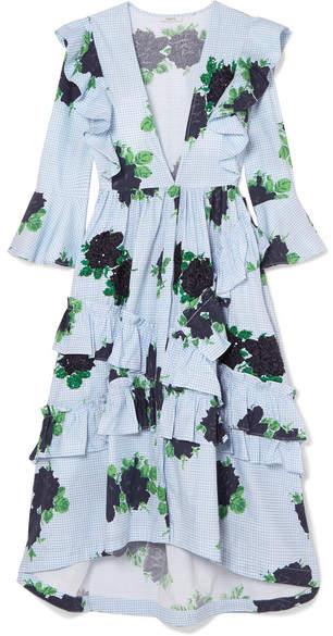 Ganni Ruffled Embellished Gingham Cotton Midi Dress - Sky blue