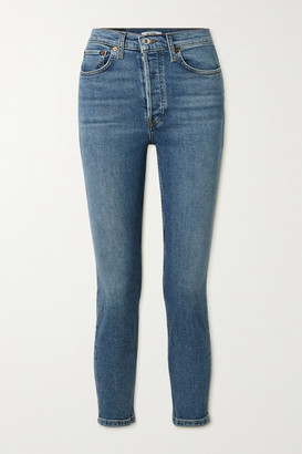 RE/DONE 90s Comfort Stretch High-rise Ankle Crop Skinny Jeans - Blue