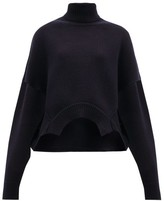 Golden Goose Oversized Cropped Roll-neck Sweater - Womens - Navy