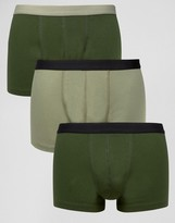 Asos Trunks In Khaki 3 Pack Save