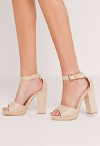 Missguided Platform Block Heel Barely There Sandals Nude