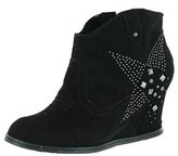 Naughty Monkey Womens Giddy Up Leather Closed Toe Ankle Fashion, Black, Size 8.5.