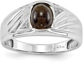 jewelryPot 14k White Gold SI2 Onyx and Diamond men's ring