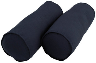 """Blazing Needles 20"""" by 8"""" Solid Twill Bolster Pillows, Navy"""
