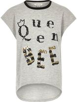 River Island Girls light grey queen bee T-shirt