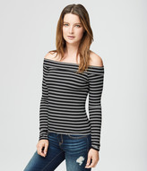 Striped Ribbed Off-The-Shoulder Top