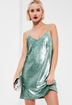 Missguided Green Sequin Shift Dress