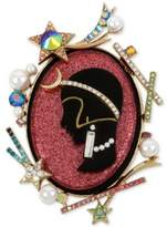 Betsey Johnson Gold-Tone Multi-Stone & Imitation Pearl Cameo Pin