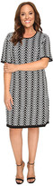 London Times Plus Size Chevron Elbow Sleeve Fit & Flare