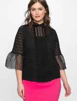 ELOQUII Plus Size Studio Lace Bell Sleeve Top