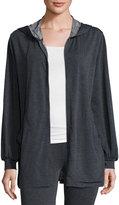 Max Studio Soft-Knit Terry Zip-Front Jacket, Charcoal/Natural
