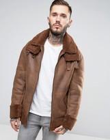 Asos Oversized Faux Shearling Jacket in Tan