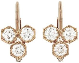 Cathy Waterman Triple Diamond Hexagonal Earrings - Rose Gold