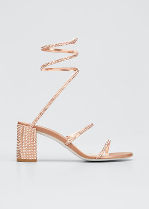 Rene Caovilla Cleo 85mm Snake-Wrap Block-Heel Sandals