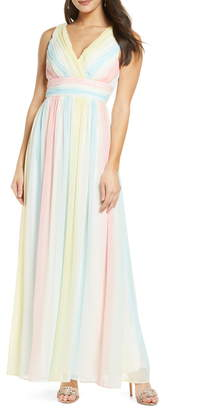 Sequin Hearts Rainbow V-Neck Chiffon Gown