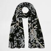 River Island Womens Black paisley foil print scarf