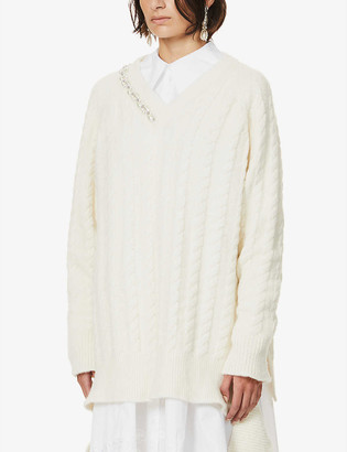 Simone Rocha Pearl-embellished knitted jumper