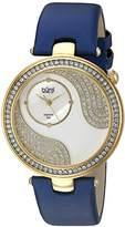 Burgi Women's BUR155BU Yellow Gold Quartz Watch With Swarovski Crystal and Diamond Mother of Pearl Dial With Blue Satin Strap