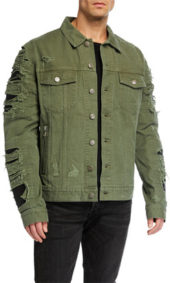 Balmain Men's Destroyed Denim & Faux-Leather Jacket