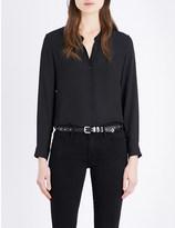 The Kooples Band-collar chiffon shirt