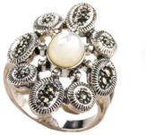 NEW DESIGNER Sterling Mother of Pearl Marcasite Floral Cocktail Ring Sz 8 JT