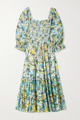 LoveShackFancy Capri Tiered Shirred Floral-print Cotton-voile Midi Dress - Jade